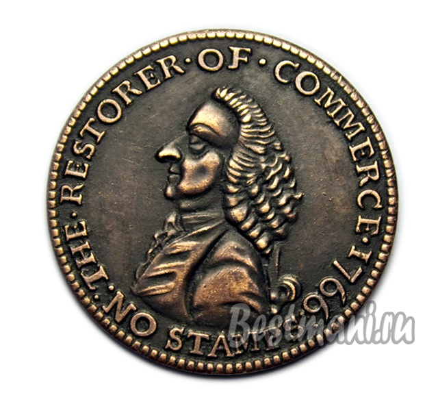 Монета жетон The restorer of commerce 1766 America копия медь