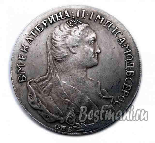 Рубль 1766 года подделка три копейки 1916
