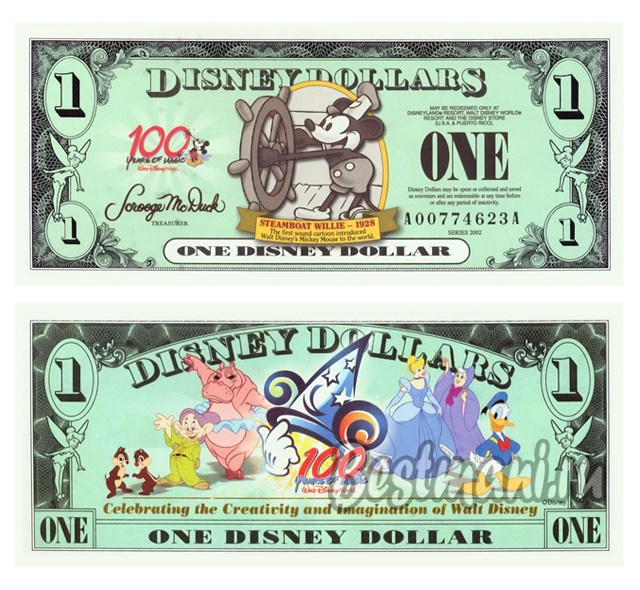 1 доллар Disney World Mickey Dollar 2002, копия