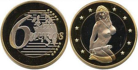 6 sex Euro  PROOF сувенирная монета 6 секс Евро копия серебро
